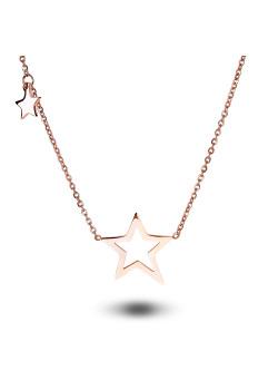 halsketting in rosé edelstaal, 2 sterren
