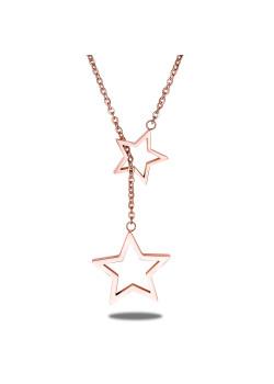 halsketting in rosé edelstaal, 2 open sterren