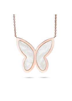 Halsketting in rosé edelstaal, vlinder parelmoer