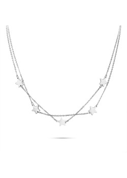 Halsketting in edelstaal, dubbele ketting met 5 sterretjes