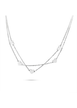 Stainless steel necklace, double chain with 5 hearts