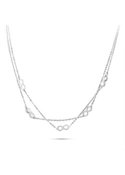 Halsketting in edelstaal, dubbele ketting met 5 infinities
