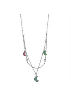 Halsketting in edelstaal, 3 maantjes roze/blauw/turquoise, 2 kristallen, dubbele ketting