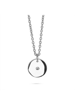 Long stainless steel necklace, small round with crystal