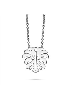 Stainless steel necklace, leaf