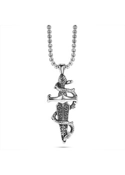 Stainless steel necklace, sword with snake