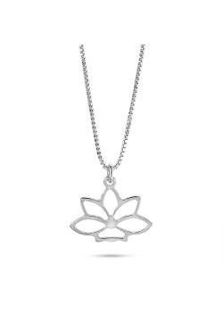 Halsketting in zilver, lotusbloem