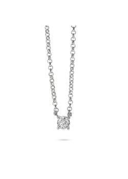 Halsketting in zilver, zirkonia steentje