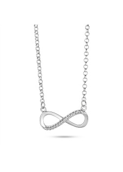 Silver necklace, infinity motif, half with crystals