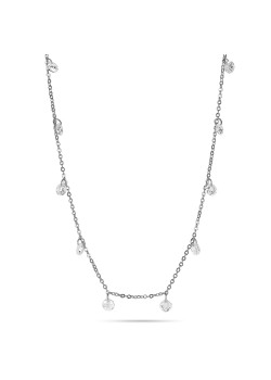 Silver necklace, 17 hanging crystals