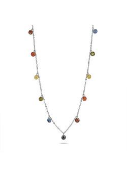 Halsketting in zilver, 17 multikleurige kristallen