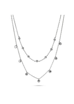 Silver necklace, double chain, zirconia and rounds