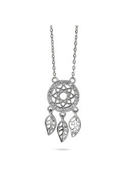 Halsketting in zilver, dromenvanger met zirkonia steentjes