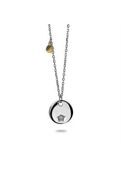 Halsketting in zilver, rondje met sterretje en zirconia, goud rondje