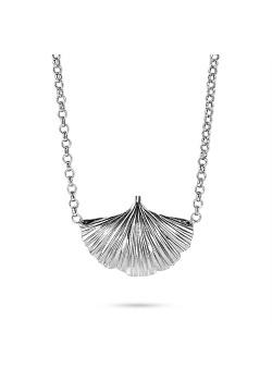 Silver necklace, gingko biloba