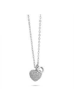 Halsketting in zilver, open hartje, bol hart met zirkonia