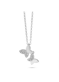 Halsketting in zilver, 2 vlinders, helft in zirkonia