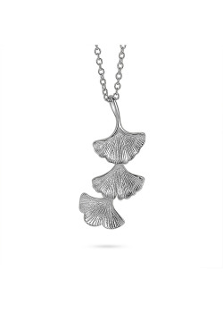 Silver necklace, 3 gingko biloba leafs