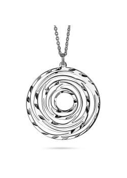 Halsketting in zilver, open ronde, gebeiteld