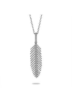 Halsketting in zilver, pluim met zirkonia