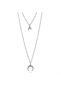 Silver necklace, double cube chain, 2 horns in zirconia