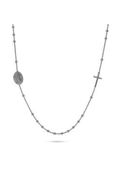 Halsketting in zilver, bolletjes ketting met kruis en ovale munt