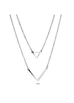 halsketting in edelstaal, geometrische motieven
