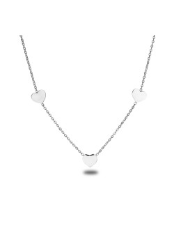stainless steel necklace, 3 small hearts