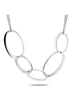 halsketting in edelstaal, dubbele ketting, ovale schakels