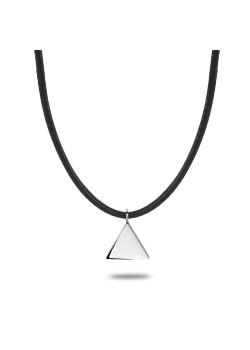 halsketting in edelstaal, zwart koord en driehoekje