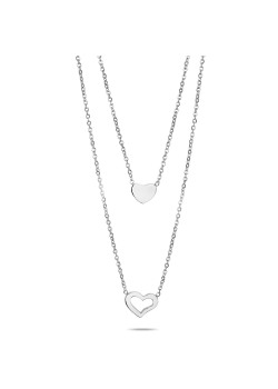 Stainless steel necklace, 2 hearts