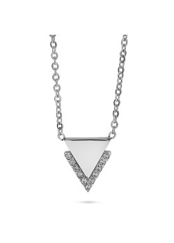Halsketting in edelstaal, driehoekje met kristallen