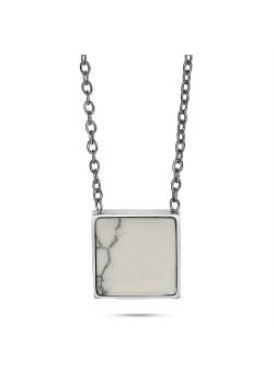 Halsketting in edelstaal, wit vierkantje in marmer print