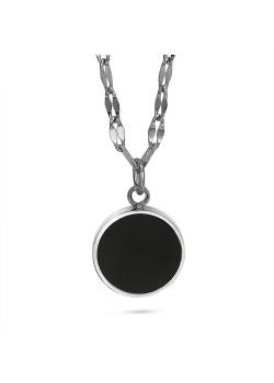Halsketting in edelstaal, zwart rondje, ketting open ovalen