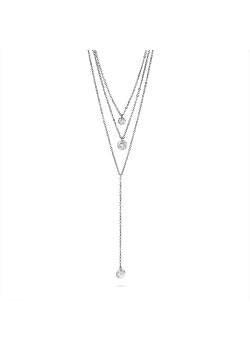 Halsketting in edelstaal, 3 kettingen, 3 kristallen