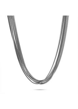 Halsketting in edelstaal, 4 platte slangenkettingen