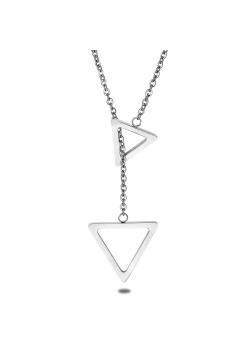 halsketting in edelstaal, 2 open driehoeken