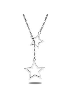 halsketting in edelstaal, 2 open sterren
