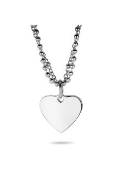 Halsketting in edelstaal, hart