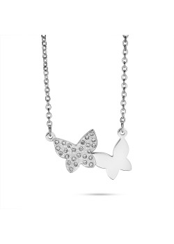 stainless steel necklace, 2 butterflies