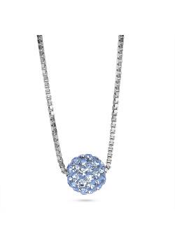 Halsketting in zilver, bol 7 mm, lichtblauwe kristallen