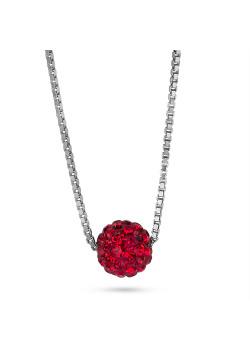 Halsketting in zilver, bol 7 mm, rode kristallen