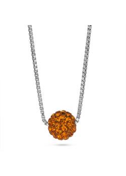 Halsketting in zilver, bol 7 mm met oranje kristallen