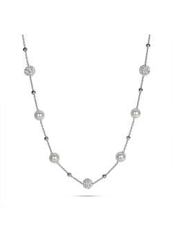 Halsketting in zilver, bolletjes witte kristallen, parels