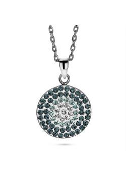 Halsketting in zilver, ronde met blauwe en witte kristallen