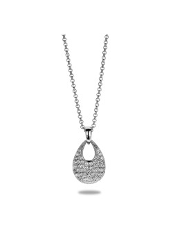 halsketting in zilver, druppel met zirkonia