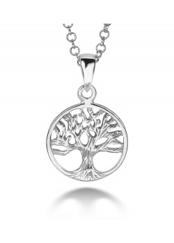 silver necklace, tree of life