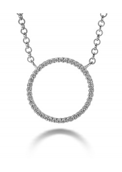 silver necklace, 16 mm circle with zirconia