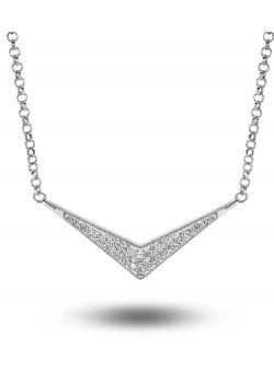 halsketting in zilver, V met zirkonia