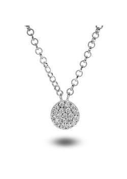 halsketting in zilver, rondje van 7 mm met zirkonia